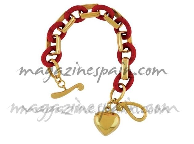 Pulsera oro e hilo de seda rojo