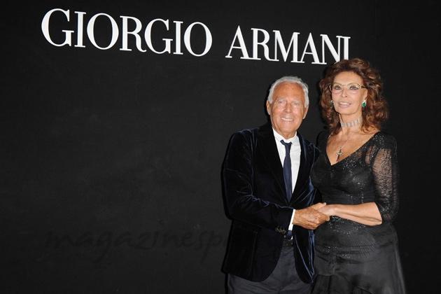 giorgio armani y Sofia loren