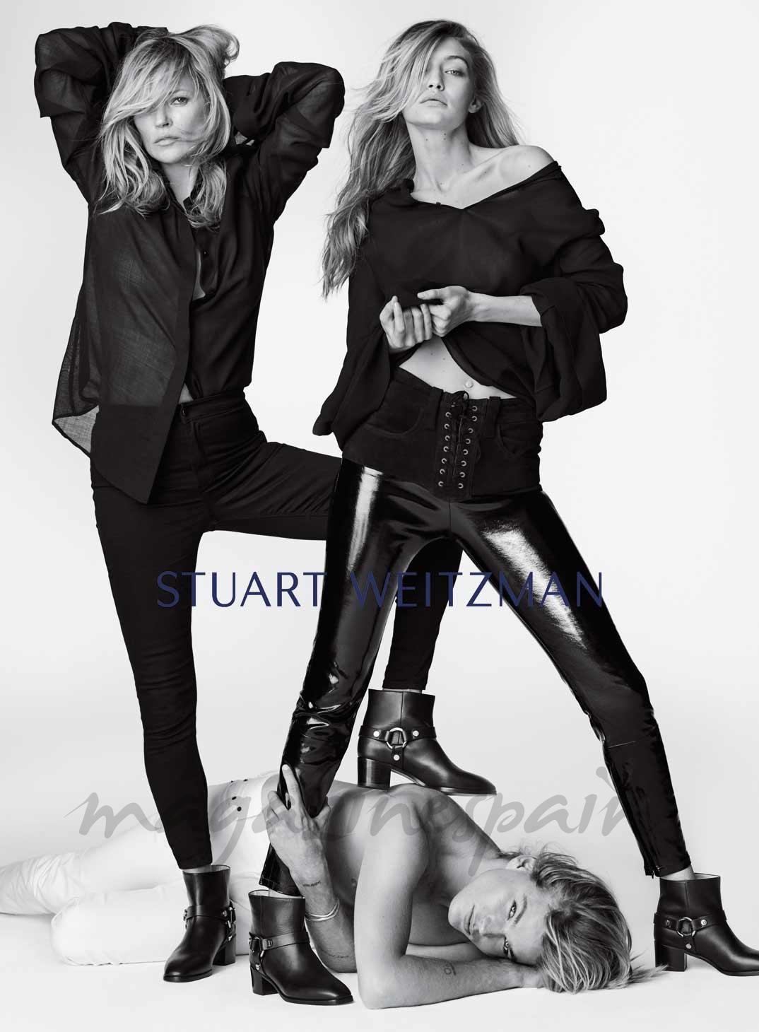 Gigi Hadid, Jordania Barrett y Kate Moss © Stuart Weitzman