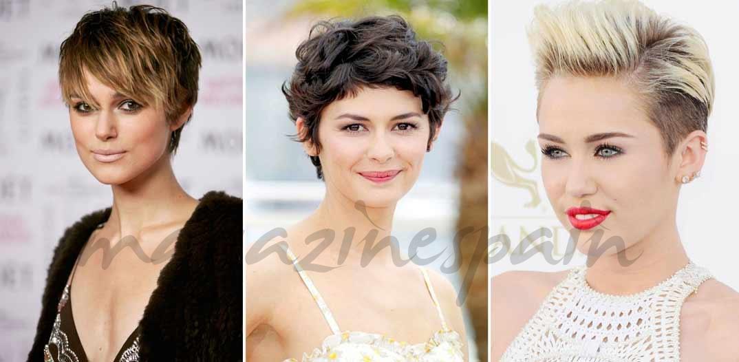 Keira Knightley (Pixie despeinado), Audrey Tautou (Pixie curly) & Miley Cyrus (Pixie levantado)