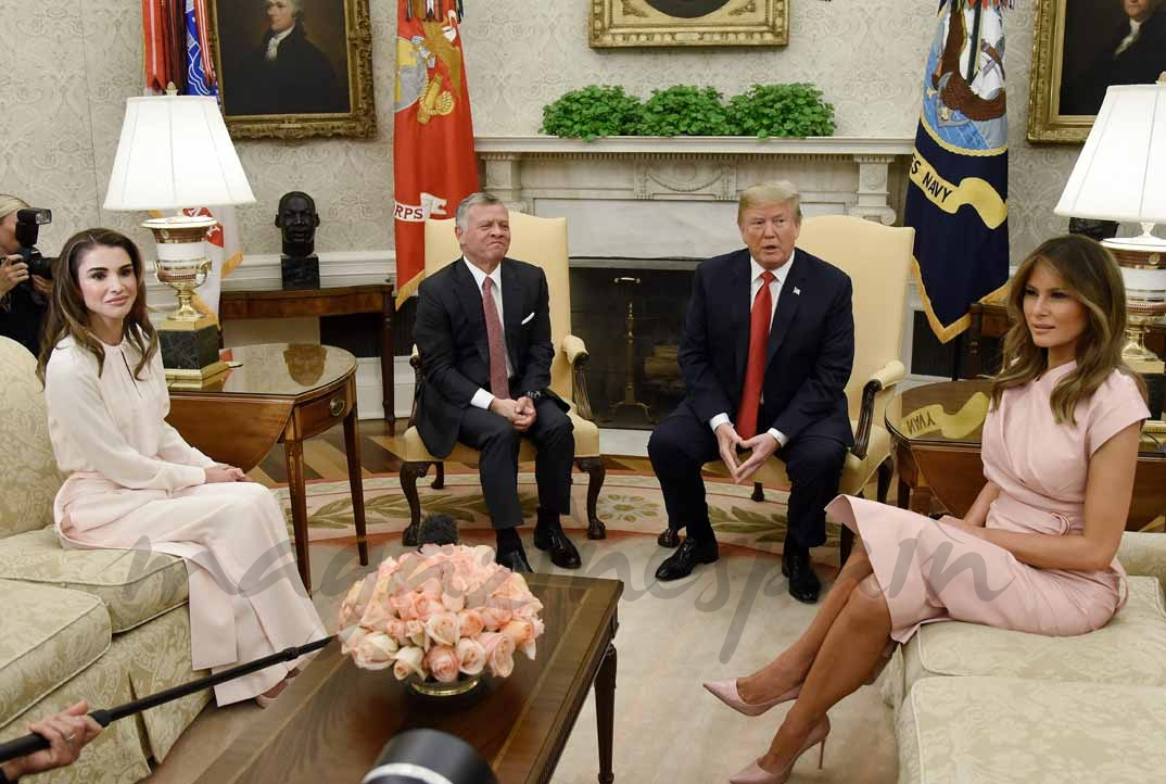 Rania de Jordania, Abdulah II de Jordania, Donald Trump y Melania Trump