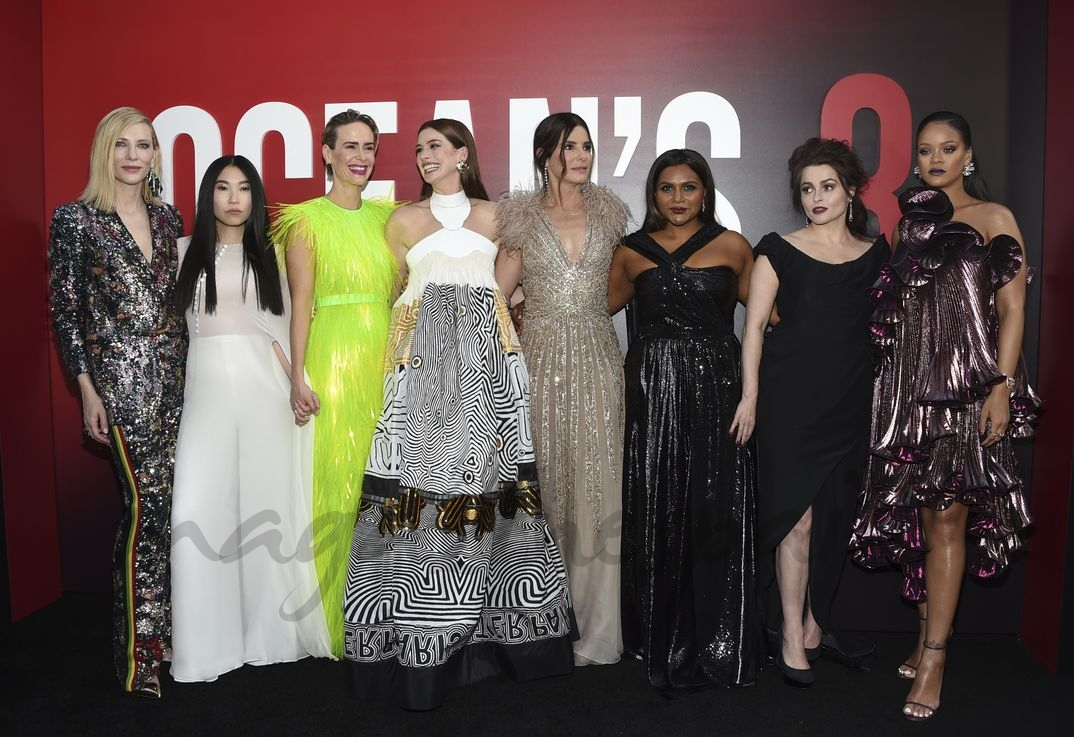 Cate Blanchett, Awkwafina, Sarah Paulson, Anne Hathaway, Sandra Bullock, Mindy Kaling, Helena Bonham Carter, y Rihanna