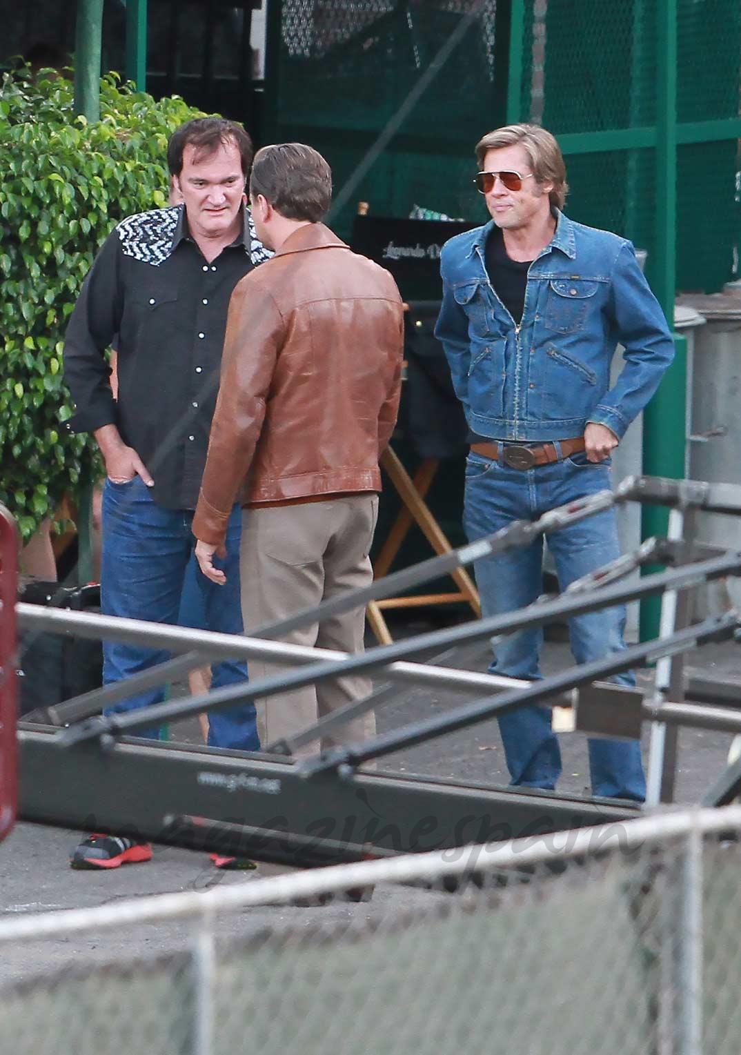 Brad Pitt y Leonardo DiCaprio con Quentin Tarantino