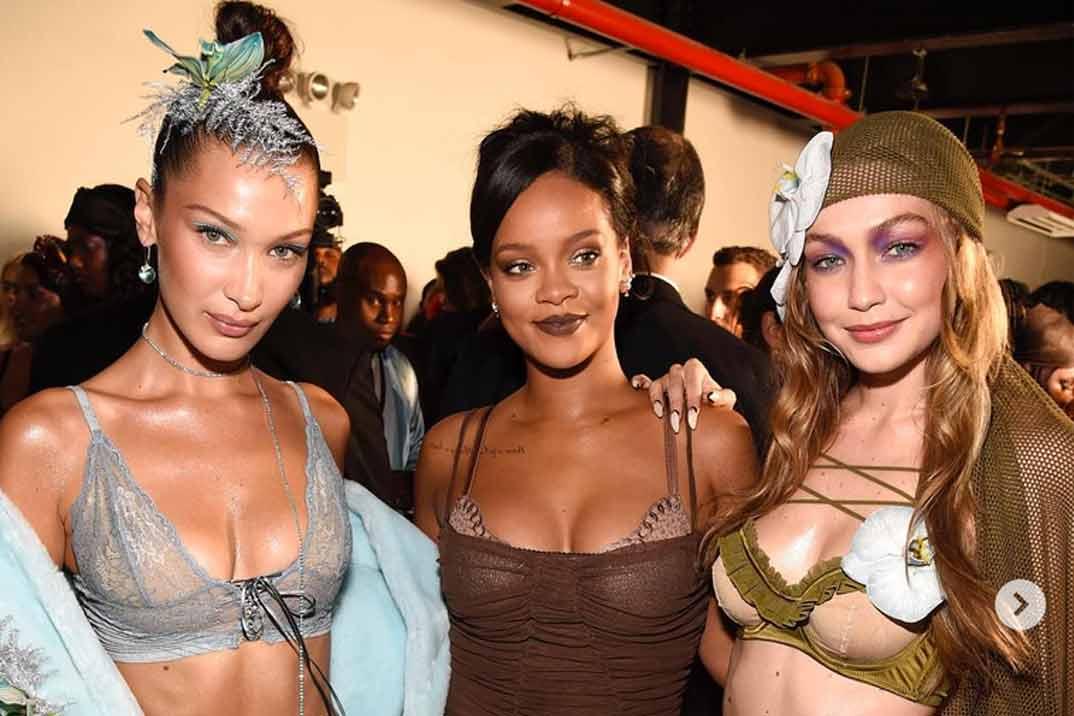 Las hermanas Hadid desfilan en ropa interior para Rihanna
