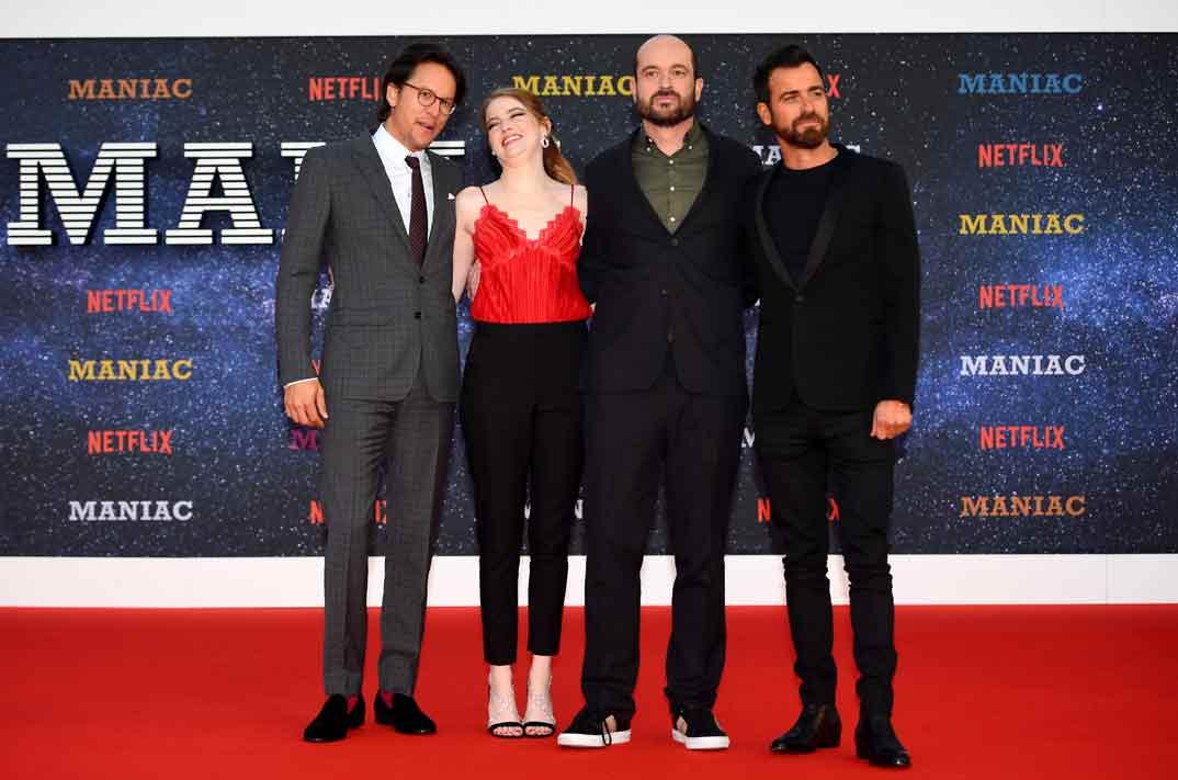"""Director Cary Fukunaga, Emma Stone, Patrick Somerville y Justin Theroux - Estreno """"Maniac"""" en Londres"""