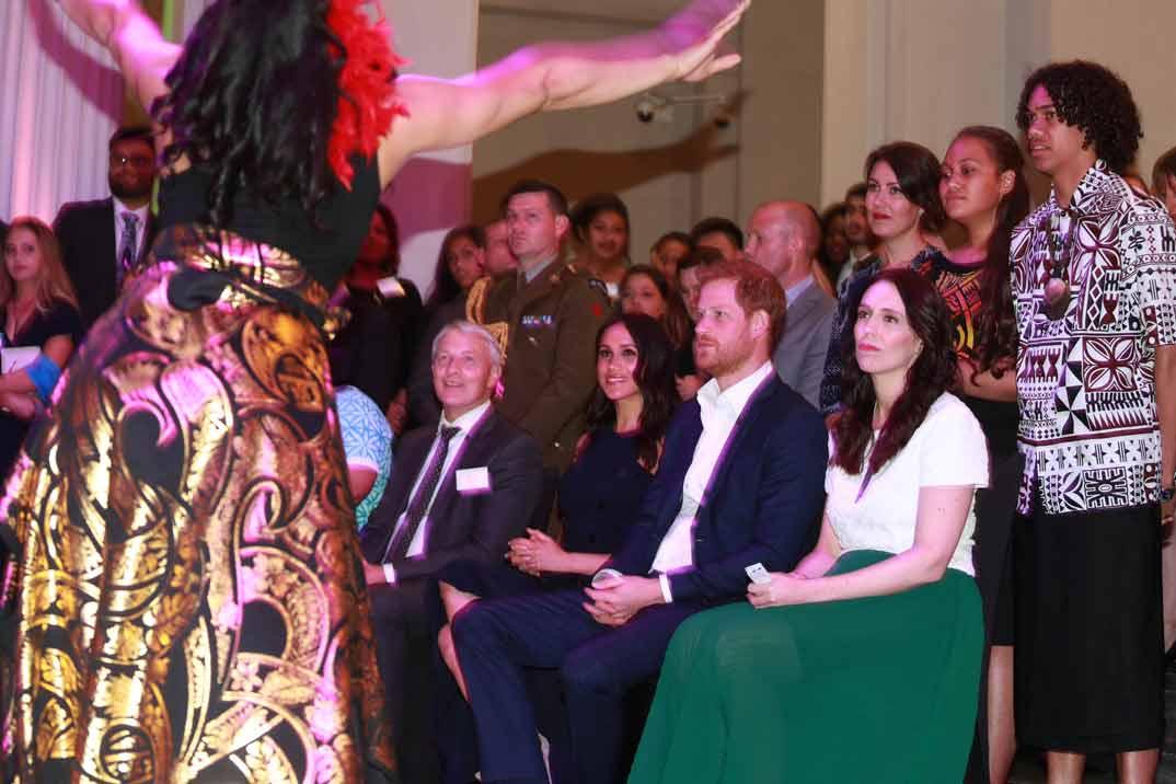 Los Duques de Sussex con Jacinda Arden