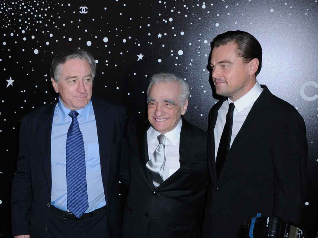 Robert de Niro con Martin Scorsese y Leonardo DiCaprio
