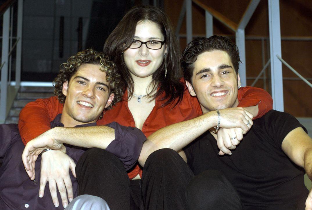 Rosa López con David Bisbal y David Bustamante - 2002