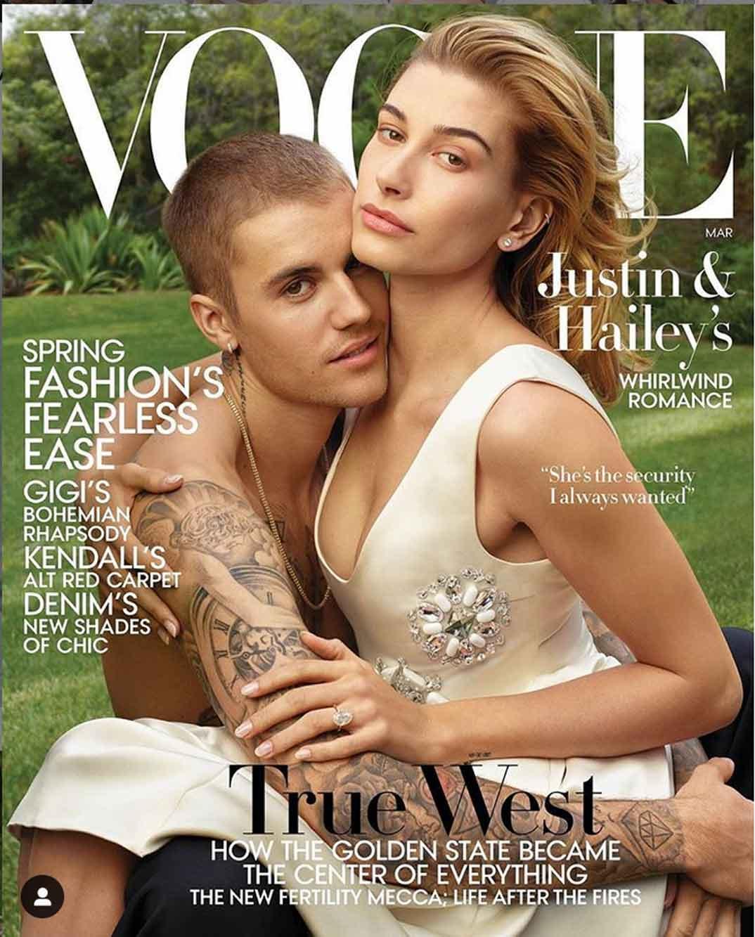 Justin Bieber y Hailey Baldwin - VOGUE USA © Redes Sociales