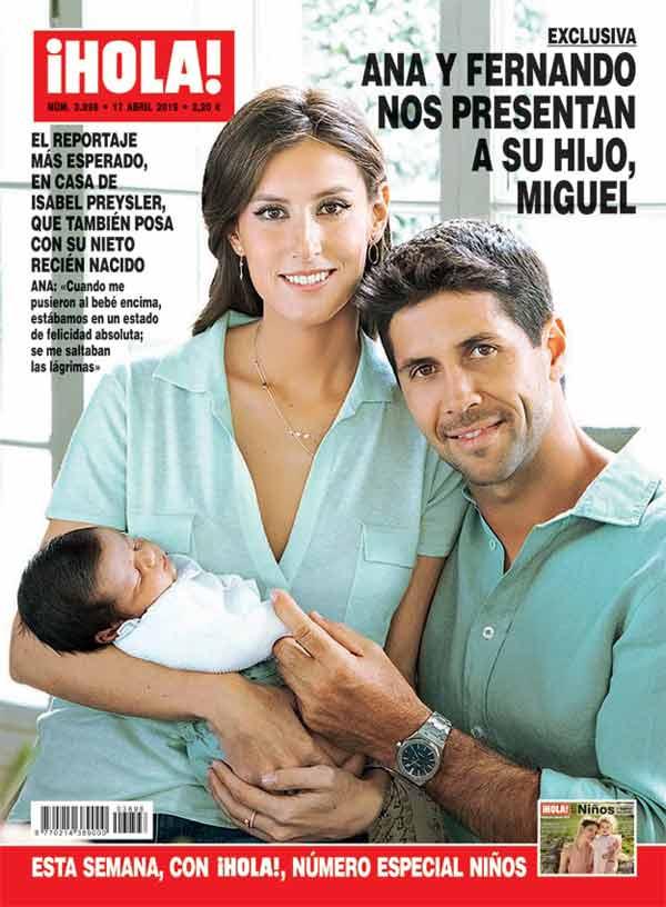 """Fernando Verdasco y Ana Boyer con el pequeño Miguel - Revista """"¡Hola!"""""""