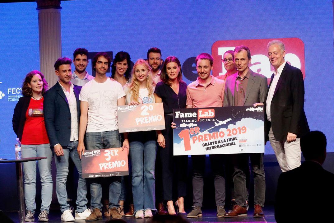"""Reina Letizia - Final del certamen de monólogos científicos """"FameLab España 2019"""" © Casa S.M. El Rey"""