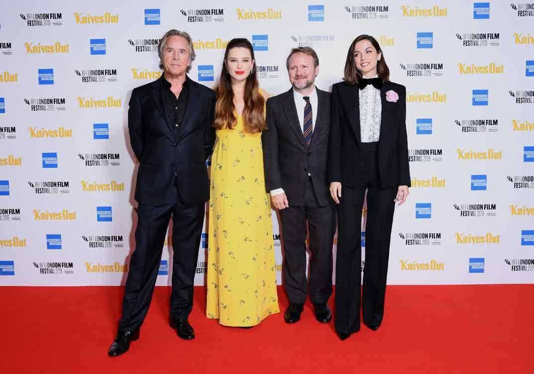 Don Johnson, Katherine Langford, director Rian Johnson y Ana de Armas - Festival de Cine de Londres