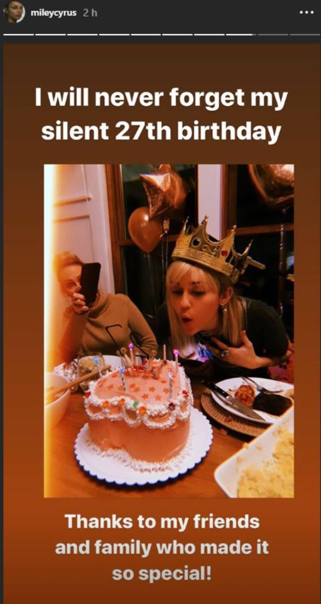 Miley Cyrus cumpleaños - Instagram/Stories
