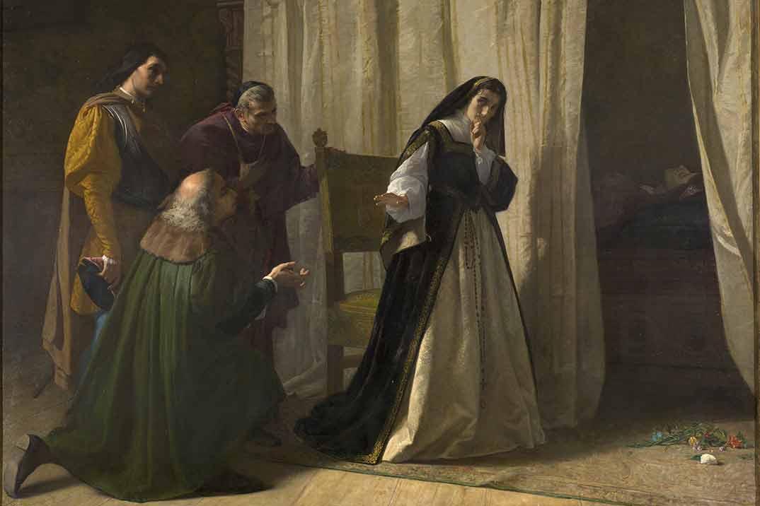 Demencia de doña Juana de Castilla Lorenzo Vallés 1866. Óleo sobre lienzo. Madrid, Museo Nacional del Prado