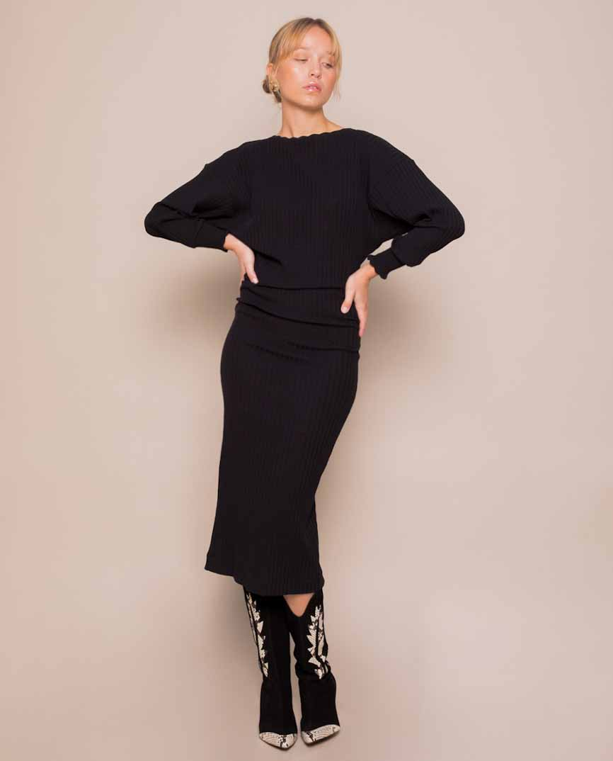slowlove vestido negro