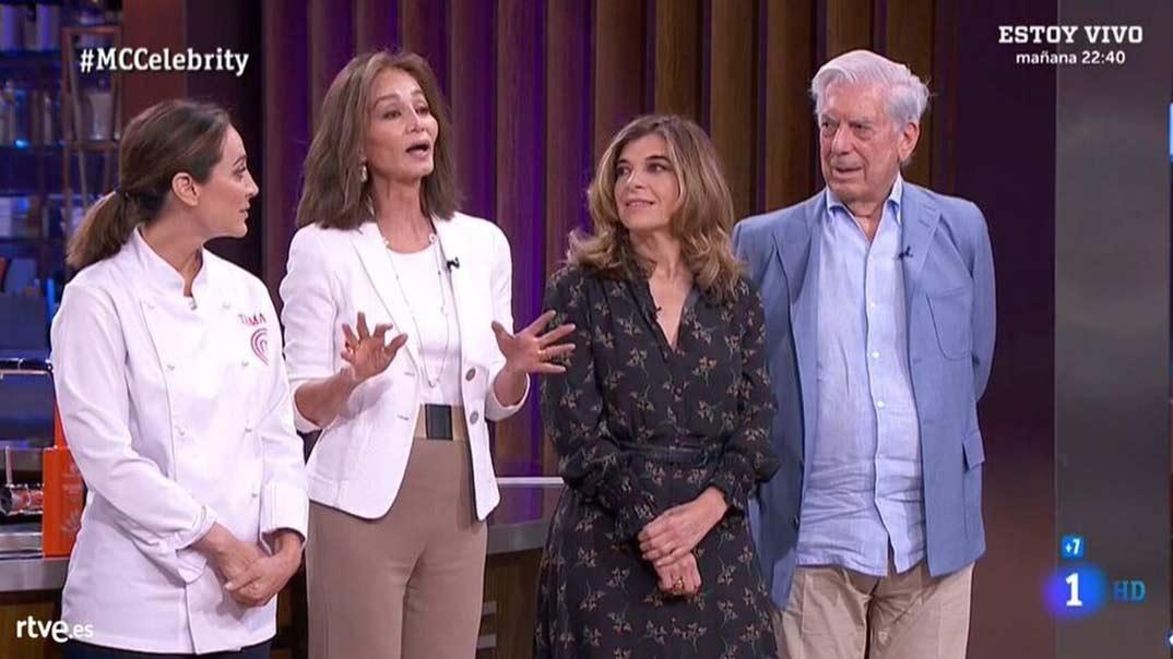 Tamara Falcó con su madre Isabel Preyler, Mario Vargas Llosa y su hermana - MasterChef Celebrity © RTVE