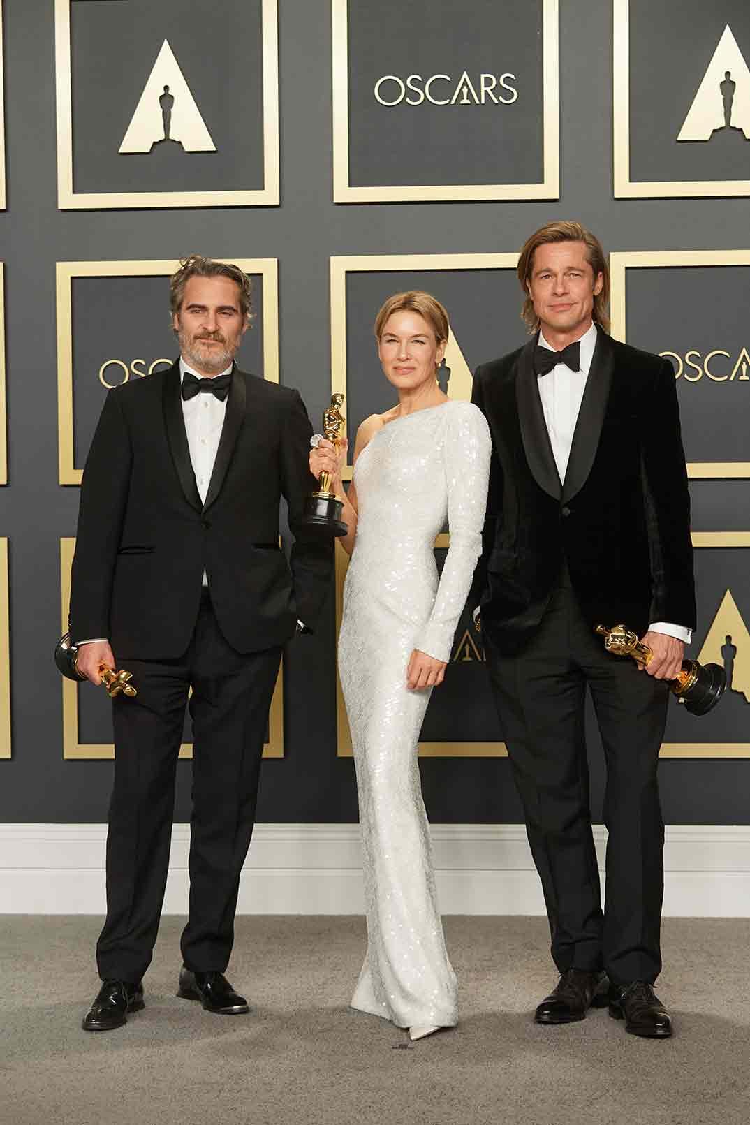 Joaquin Phoenix, Renee Zellwegger y Brad Pitt - Oscars 2020 © A.M.P.A.S.