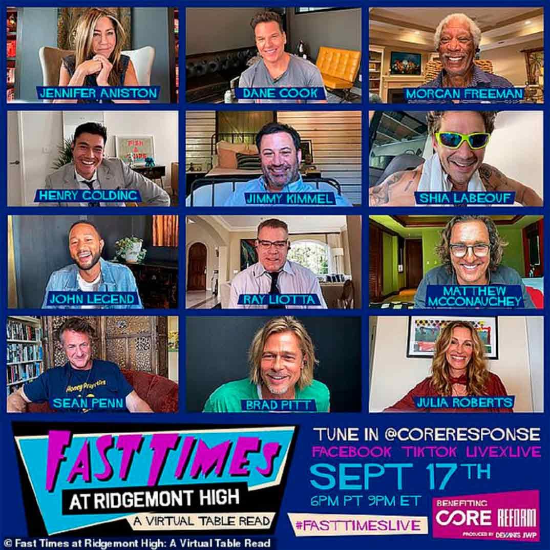 cartel de evento Brad Pitt y Jennifer Aniston