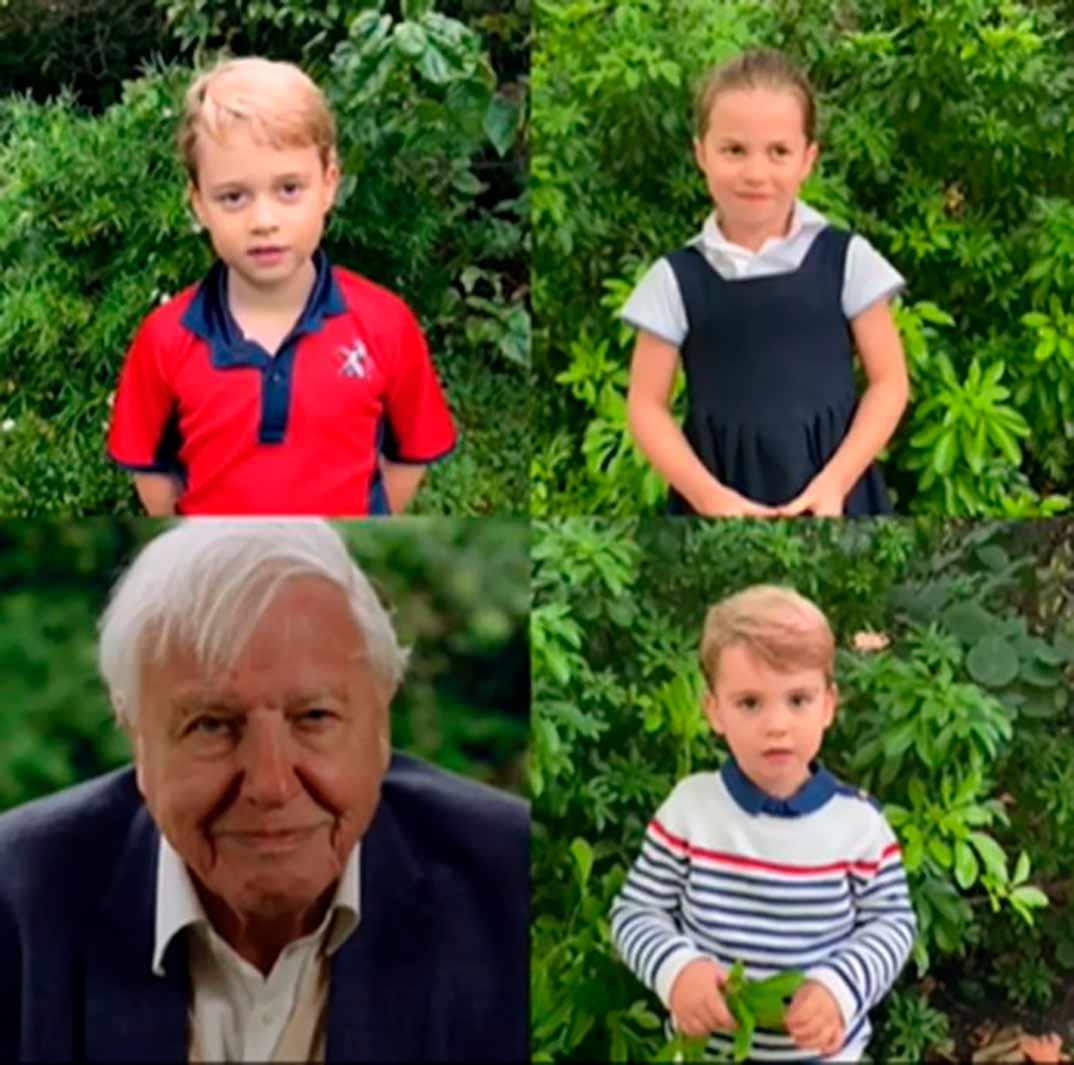 Los hijos de los Duques de Cambridge con David Attenborough © kesingtonroyal/Instagram