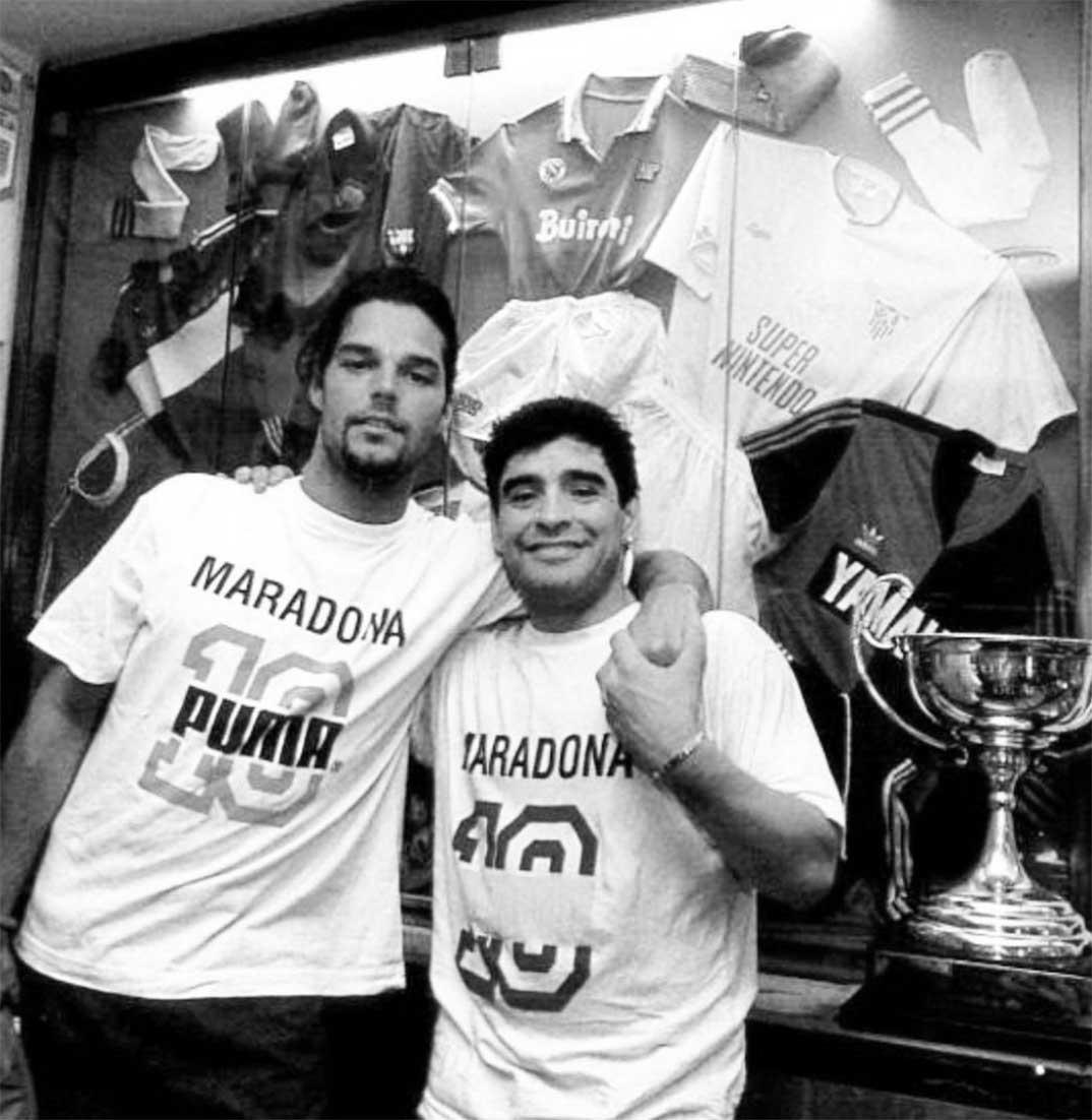 Maradona con Ricky Martin © Redes Sociales
