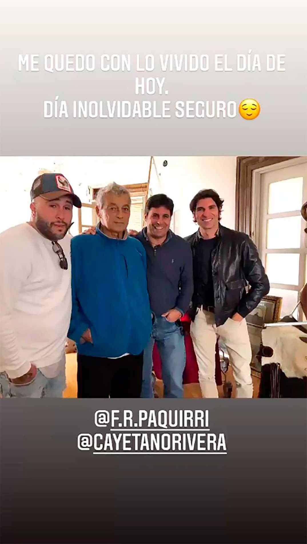 Kiko Rivera, Francisco Rivera, Cayetano Rivera con su tío Riverita © Instagram