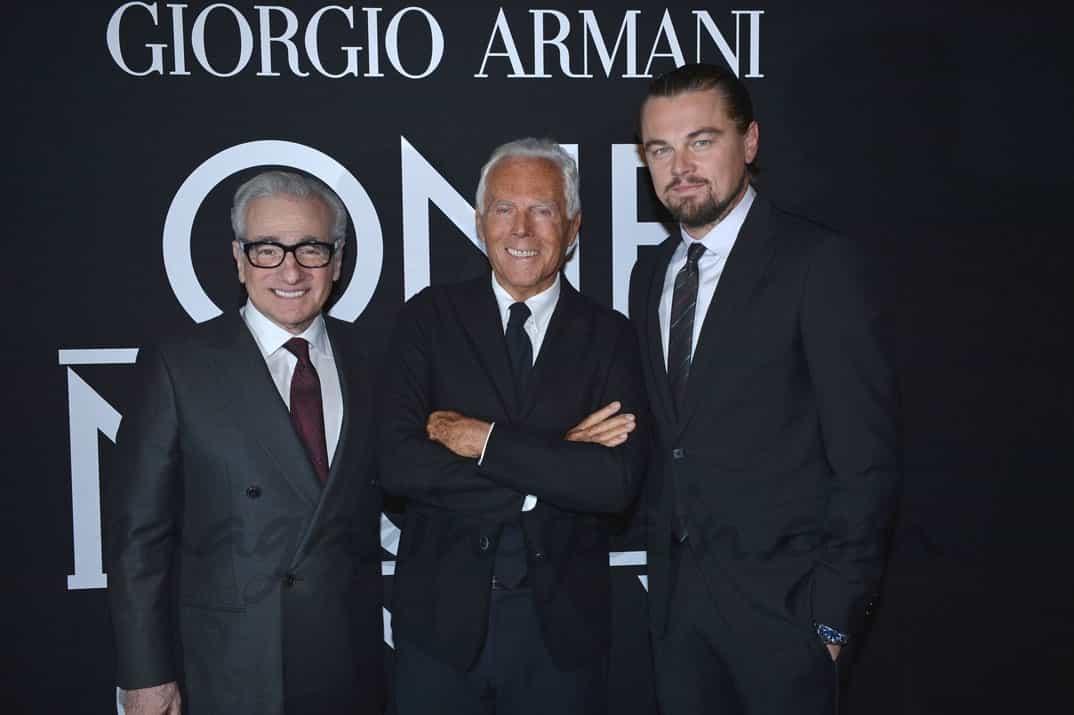 Martin Scorsese, Giorgio Armani y Leonardo Dicaprio