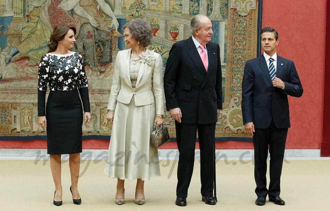 En el Palacio del Pardo, el presidente de México y su esposa se despiden de los Reyes