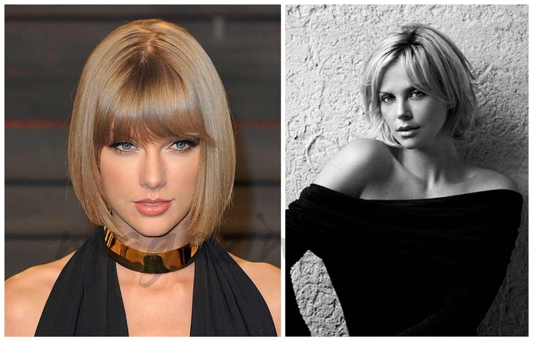 Taylor Swift (Beveled Bob) y Charlize Theron (Layered Bob)