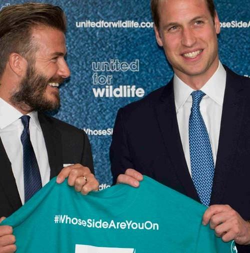 El príncipe Guillermo y David Beckham solidarios