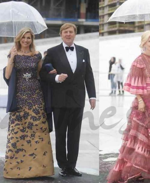 Los paraguas, protagonistas del 80 cumpleaños de los Reyes de Noruega