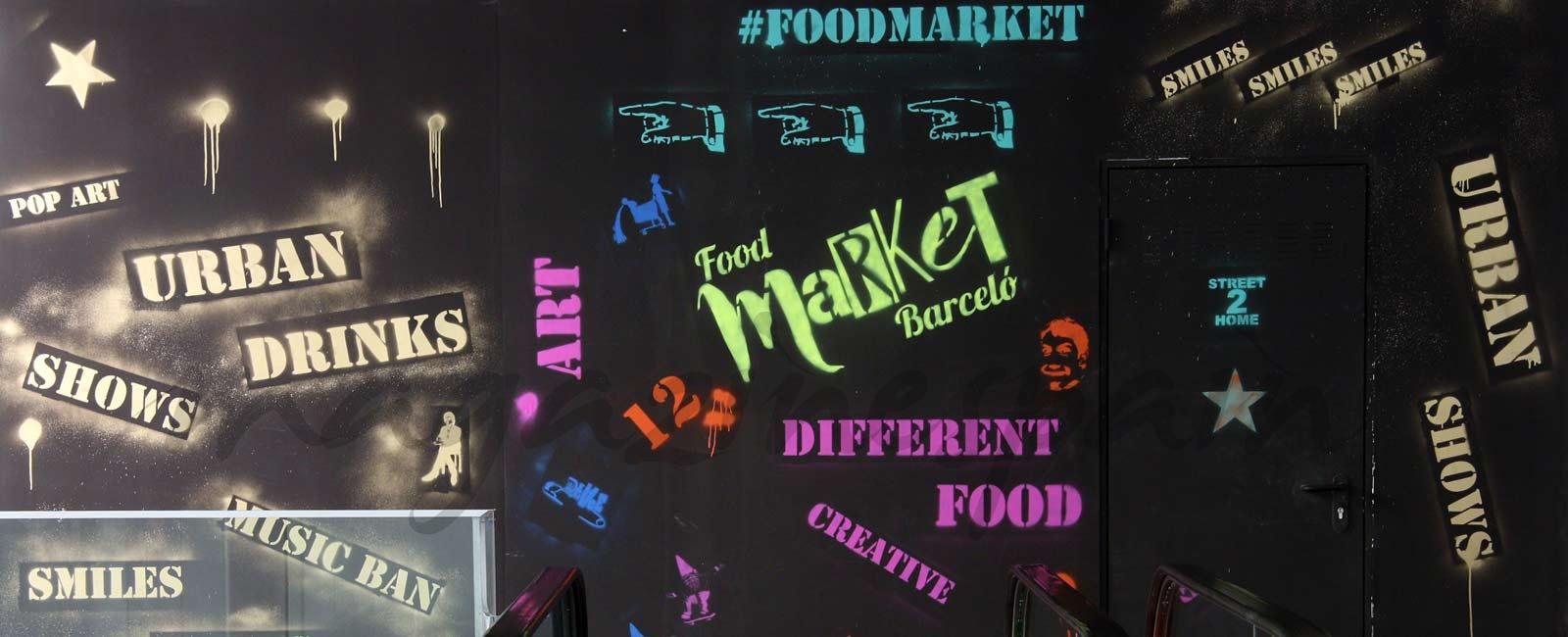 Food Market Barceló, arte urbano y vanguardista en Malasaña