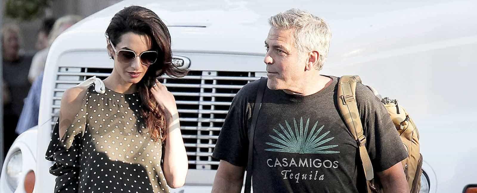 Amal Alamuddin, visita sorpresa a George Clooney en el rodaje de «Suburbicon»