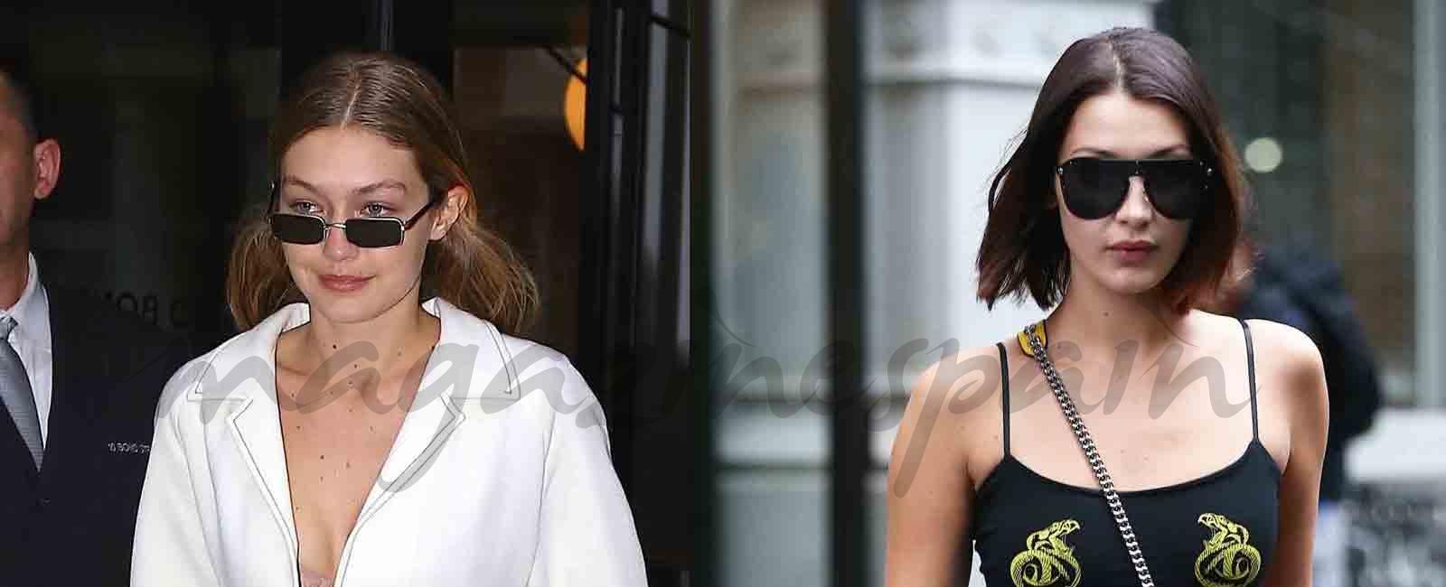 Gigi Hadid y Bella Hadid estilo en blanco y negro
