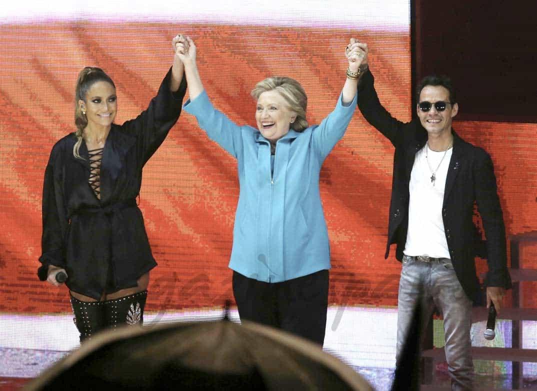Jennifer López, Hilary Clinton y Marc Anthony