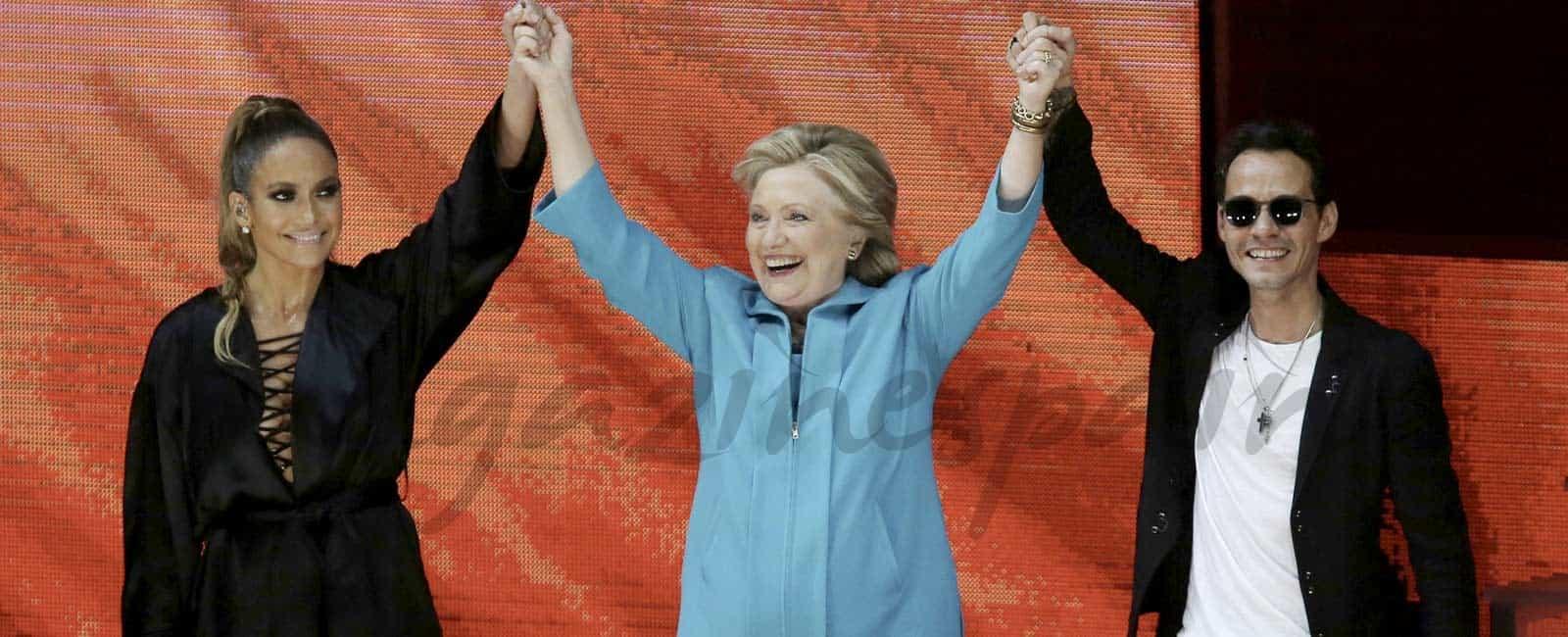JLo y Marc Anthony, unidos por Hillary Clinton