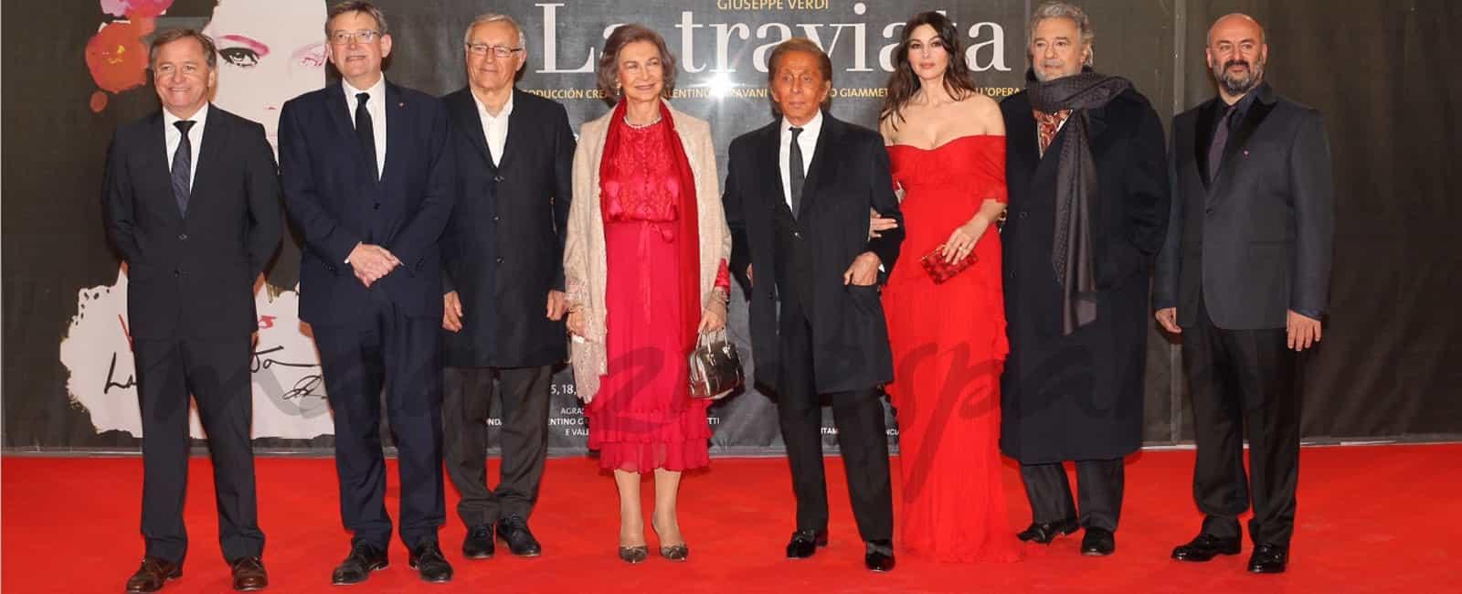 La reina Sofía y Mónica Bellucci en el estreno de la Ópera «La Traviata» en Valencia