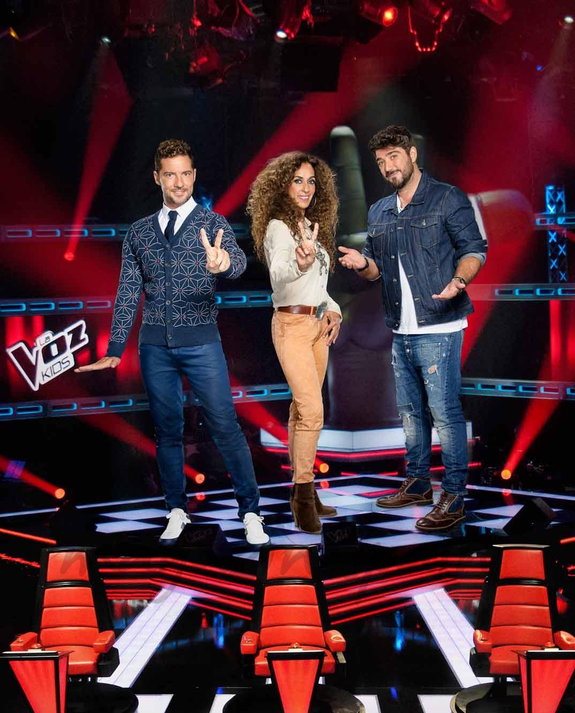 David Bisbal, Rosario Flores y Antonio Orozco - La Voz Kids 3 - © Mediaset