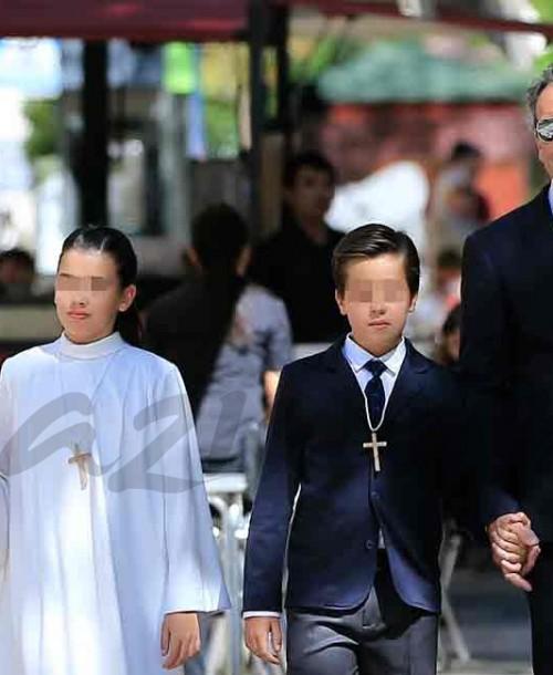 Nieves Álvarez y su ex Marco Severni, en la comunión de sus hijos