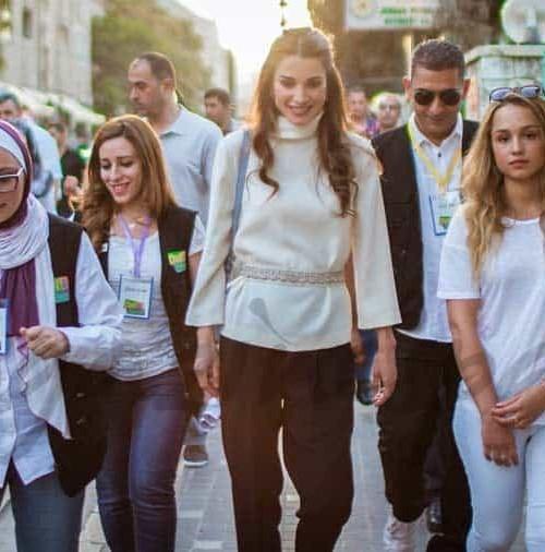 Rania de Jordania y su hija la princesa Iman, marcha solidaria