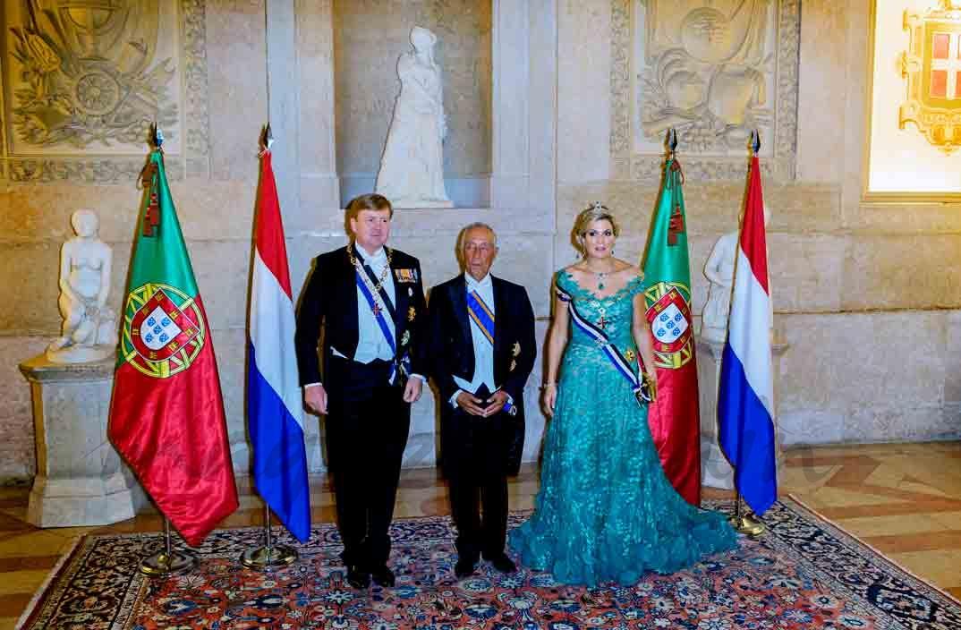 cena de gala reyes de holanda con marcelo rebelo en portugal