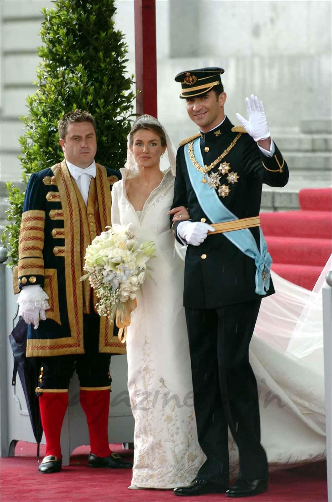 Reyes don Felipe y doña Letizia el día de su boda (22 de mayo de 2004)