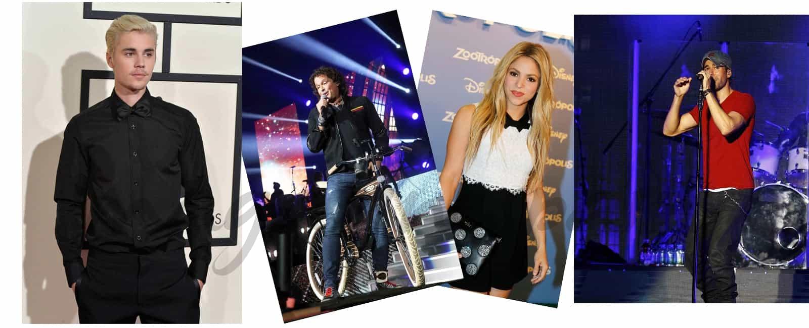 Shakira y Carlos Vives, Enrique Iglesias y Justin Bieber con Major Lazer, elige la canción del verano