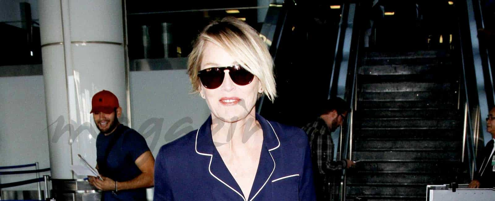 Sharon Stone se apunta a la moda del pijama