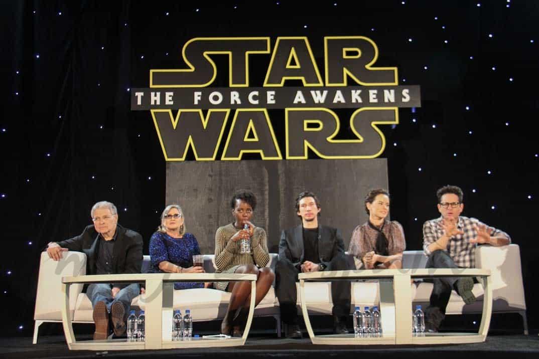 star-wars-Awrence-Kasdan,-Carrie-Fisher,-Lupita-Nyong'o,-Adam-Driver,-Daisy-Ridley,-J.J.-Abrams