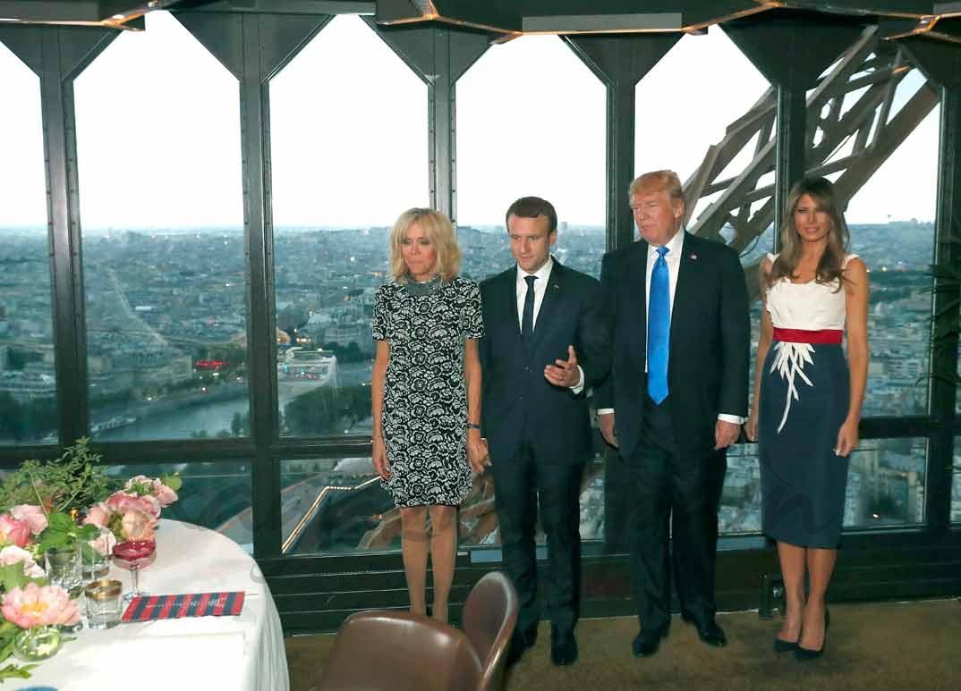 Trump y Macron con sus esposas