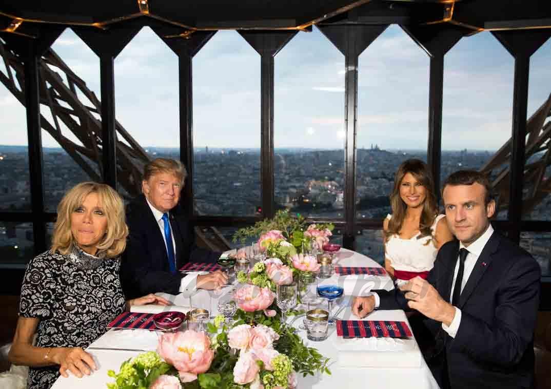 cena en la torre eiffel de trump y macron con sus esposas