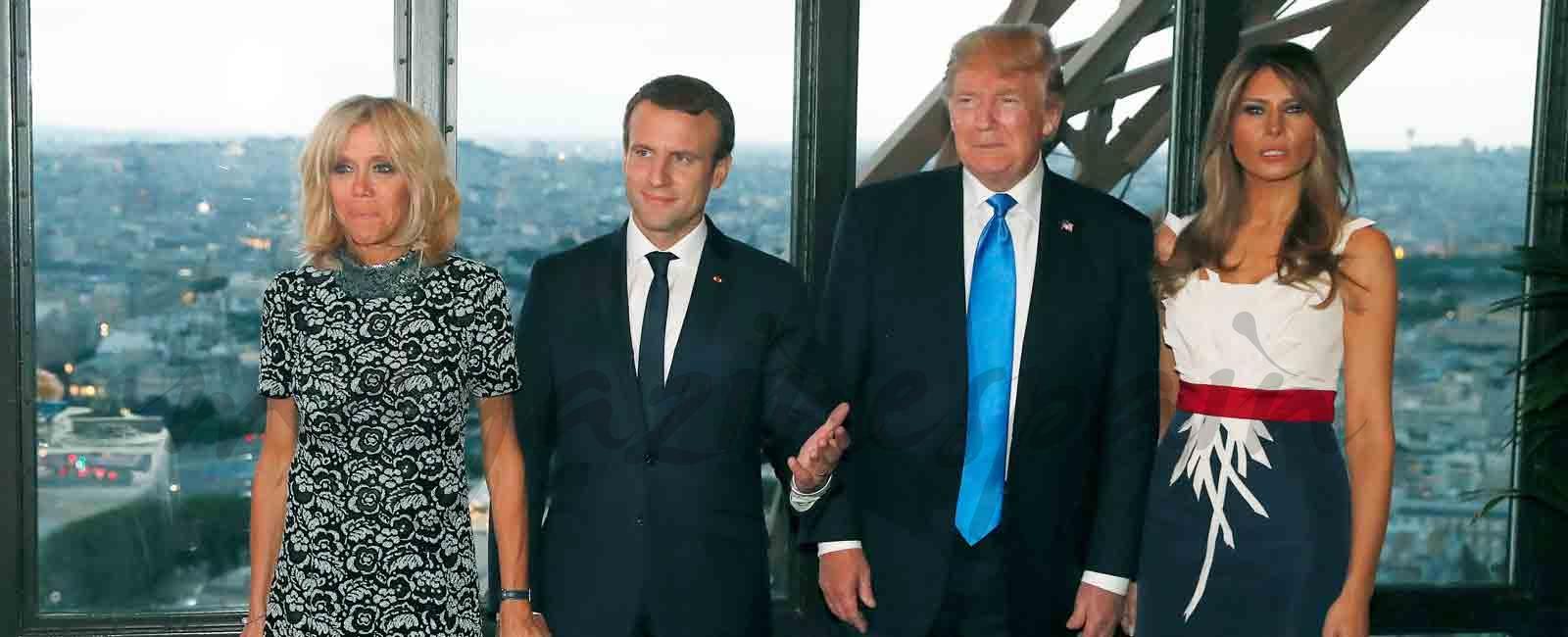 Trump y Macron, cena familiar en la Torre Eiffel