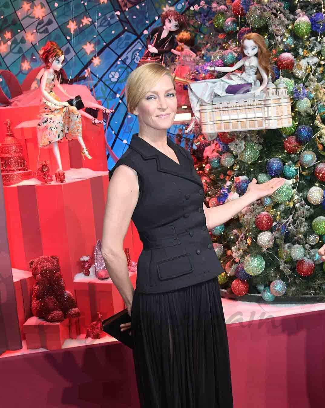 uma thurman inaugura navidad en paris